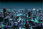 Areal View of Osaka by Night, Japan