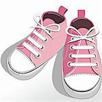 Pink childrens or young adult shoes, pair kids sneaker, pink   girls shoes. Vector illustration. Stock Photo - Royalty-Free, Artist: ElaKwasniewski                , Code: 400-04347351