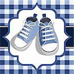 Blue shoes on a checkered background, blue childrens or young adult shoes, pair kids sneaker. Stock Photo - Royalty-Free, Artist: ElaKwasniewski                , Code: 400-04347365
