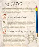 Blog web site template - with crumpled paper as a background Stock Photo - Royalty-Free, Artist: orsonsurf                     , Code: 400-04347511
