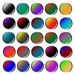 round colored web buttons isolated on white background, abstract vector art illustration