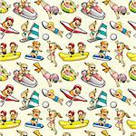 seamless water sport pattern Stock Photo - Royalty-Free, Artist: notkoo2008                    , Code: 400-04348031