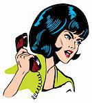 Angry Woman On Phone Retro Clip Art Comics Book style Stock Photo - Royalty-Free, Artist: icons                         , Code: 400-04348055