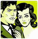 Man and woman love couple tag in popart comic book style Stock Photo - Royalty-Free, Artist: icons                         , Code: 400-04348067