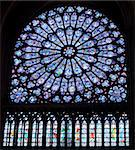 Stained glass decoration in Notre Dame cathedral in Paris Stock Photo - Royalty-Free, Artist: lindom                        , Code: 400-04348802