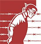 illustration of a Prisoner blindfolded and hands tied with barbed wire in background Stock Photo - Royalty-Free, Artist: patrimonio                    , Code: 400-04349601