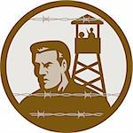 illustration of a Prisoner of war in a concentration camp with guard tower in background and barbed wire in foreground. Stock Photo - Royalty-Free, Artist: patrimonio                    , Code: 400-04349602