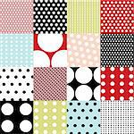 seamless patterns, polka dot set