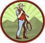 illustration of a Miner carrying pick axe with mountains set inside an oval