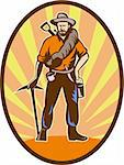 illustration of a Miner, prospector or gold digger with pick axe and shovel standing front