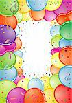 Birthday Frame with Balloon, Streamer and confetti, element for design, vector illustration Stock Photo - Royalty-Free, Artist: TAlex                         , Code: 400-04350118