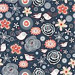 Seamless red floral pattern with birds on a dark blue background Stock Photo - Royalty-Free, Artist: tanor                         , Code: 400-04350569