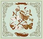 Vector card: Vintage butterflies on a branch Stock Photo - Royalty-Free, Artist: marinakim                     , Code: 400-04350982
