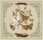 Vector card: Vintage butterflies on a branch Stock Photo - Royalty-Free, Artist: marinakim                     , Code: 400-04350983