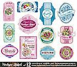 Vintage Labels Collection - 12 design elements with original antique style -Set 12 Stock Photo - Royalty-Free, Artist: DavidArts                     , Code: 400-04351082