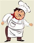 Vector cartoon illustration with fun cook Stock Photo - Royalty-Free, Artist: marinakim                     , Code: 400-04351967