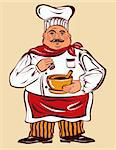 Vector cartoon illustration with fun cook Stock Photo - Royalty-Free, Artist: marinakim                     , Code: 400-04351969