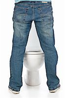 man pee on the toilet Stock Photo - Royalty-Freenull, Code: 400-04352271