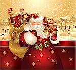 Christmas banner with Santa Claus Stock Photo - Royalty-Free, Artist: marinakim                     , Code: 400-04352599