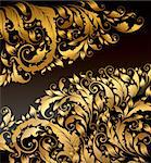 Vector background with gold curly ornaments Stock Photo - Royalty-Free, Artist: marinakim                     , Code: 400-04352613