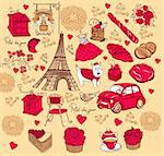 Hand drawing collection symbols of Paris Stock Photo - Royalty-Free, Artist: marinakim                     , Code: 400-04352640