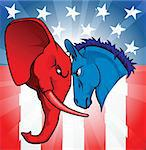 The democrat and republican symbols of a donkey and elephant facing off. Stock Photo - Royalty-Free, Artist: Krisdog                       , Code: 400-04353728