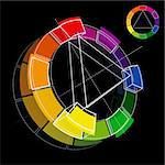 Three dimensional color wheel on black background. Vector Illustration Stock Photo - Royalty-Free, Artist: fixer00                       , Code: 400-04354160