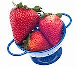 Fresh Strawberries in a Colander Isolated on White with a Clipping Path. Stock Photo - Royalty-Free, Artist: brookebecker                  , Code: 400-04354253