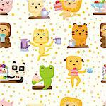 seamless animal tea time pattern Stock Photo - Royalty-Free, Artist: notkoo2008                    , Code: 400-04354512