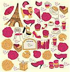 Hand drawing collection symbols of Paris Stock Photo - Royalty-Free, Artist: marinakim                     , Code: 400-04354563