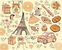 Hand drawing collection symbols of Paris Stock Photo - Royalty-Freenull, Code: 400-04354573