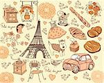 Hand drawing collection symbols of Paris Stock Photo - Royalty-Free, Artist: marinakim                     , Code: 400-04354573