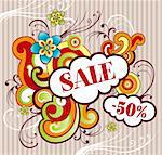 Vector illustration of summer sale theme Stock Photo - Royalty-Free, Artist: marinakim                     , Code: 400-04354605