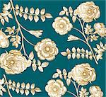 Classical wall-paper with a flower pattern Stock Photo - Royalty-Free, Artist: marinakim                     , Code: 400-04354685