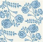 Classical wall-paper with a flower pattern Stock Photo - Royalty-Free, Artist: marinakim                     , Code: 400-04354686
