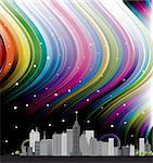 colorful city design with rainbow background and stars Stock Photo - Royalty-Free, Artist: BooblGum                      , Code: 400-04354877