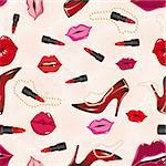 Seamless lips background, with shoe, lipstick. Vector illustration