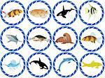 Badges with the inhabitants of the seas and oceans Stock Photo - Royalty-Free, Artist: guarding                      , Code: 400-04355482