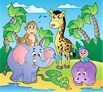 African beach with cute animals - vector illustration. Stock Photo - Royalty-Free, Artist: clairev                       , Code: 400-04356311