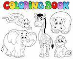 Coloring book with African animals - vector illustration. Stock Photo - Royalty-Free, Artist: clairev                       , Code: 400-04356330
