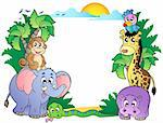 Frame with cute African animals - vector illustration. Stock Photo - Royalty-Free, Artist: clairev                       , Code: 400-04356347