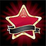 vector red star in golden frame on dark background Stock Photo - Royalty-Free, Artist: BooblGum                      , Code: 400-04356883