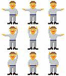 Vector pixel art - a set of gesticulating people on white Stock Photo - Royalty-Free, Artist: pzaxe                         , Code: 400-04357155
