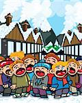 Cartoon carol singers in a snowy town Stock Photo - Royalty-Free, Artist: antonbrand                    , Code: 400-04357247