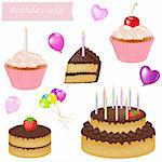Birthday Cake Set, Isolated On White Background, Vector Illustration