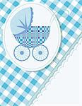 Baby arrival card  with a pram Stock Photo - Royalty-Free, Artist: neoleg                        , Code: 400-04357809