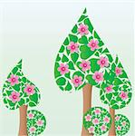 Trees made from flovers, and leaves, spring or summer background, vector illustration Stock Photo - Royalty-Free, Artist: MarketOlya                    , Code: 400-04358025