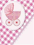Baby arrival card  with a pram