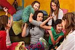 Group of little girls hitting each other with pillows Stock Photo - Royalty-Free, Artist: creatista                     , Code: 400-04358944