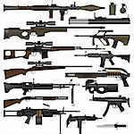 Layered vector illustration of various weapons. Stock Photo - Royalty-Free, Artist: tshooter                      , Code: 400-04359023